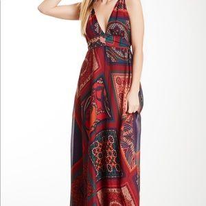 Hale Bob Silk Maxi Dress Size L NWT